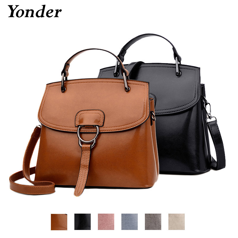 Brown women handbag genuine leather shoulder crossbody bag female large messenger bags ladies fashion casual women tote bag 2018 new style genuine leather woman handbag vintage metal ring cloe shoulder bag ladies casual tote fashion chain crossbody bag
