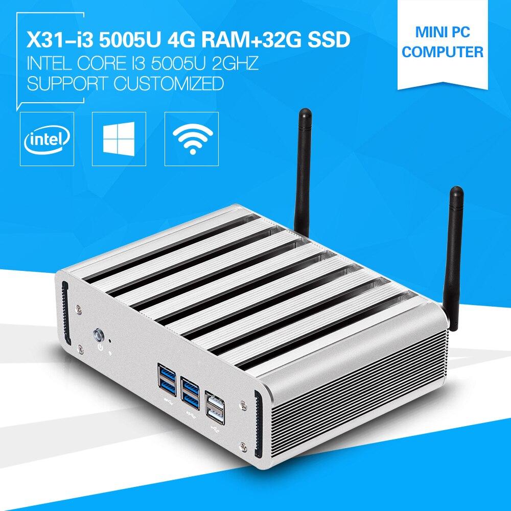 Nuevo de Alta Config CPU i3 5005U Windows 8 4G Ram 32G ssd de doble núcleo mini