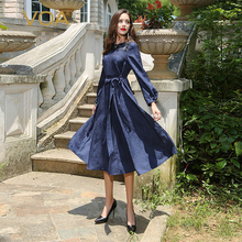 VOA 2017 Autumn Navy Blue Long Sleeve Vintage Heavy Silk Women Maxi Dress Plus Size Luxury Jacquard Belt Slim AJX01501