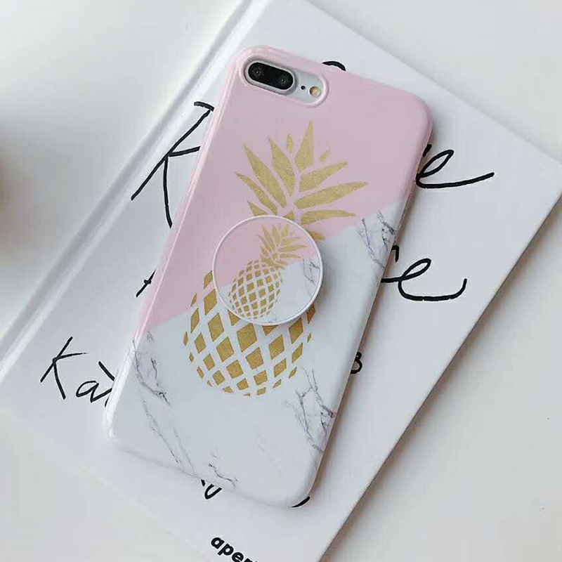 Bracket Gold Pineapple Phone Cases For iPhone XS Max XR XS 6 6S 7 8 Plus X Soft IMD Marble Texture Phone Back Cover Coque Gift (8)