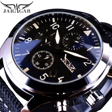 Jaragar Navigator Fashion Black Watch Date Display Men Automatic 6 Hands Genuine Leather Clock Sport Mechanical Watches Relogios