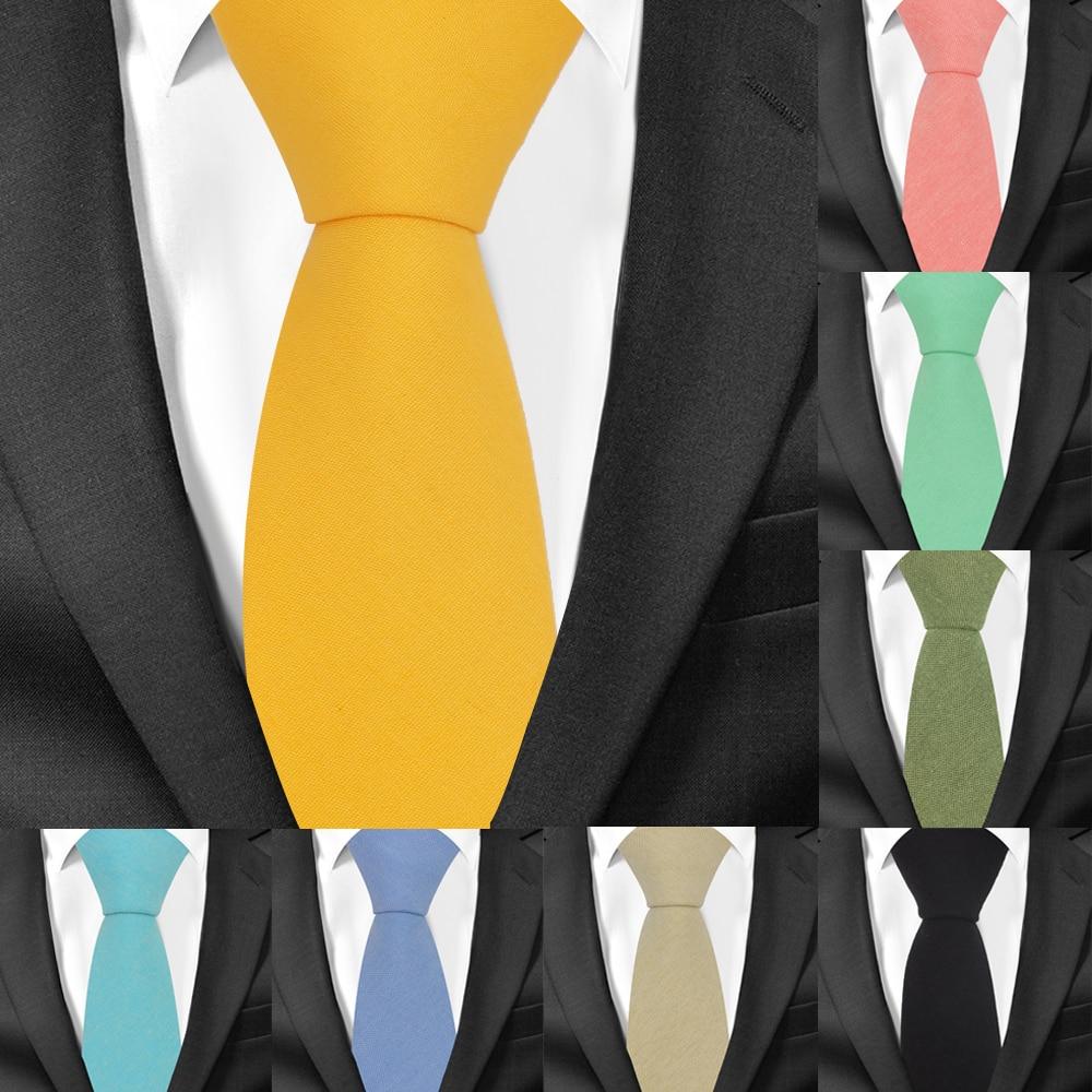 Slim Cotton Neck Ties For Men Casual Suits Skinny Tie Gravatas Candy Color Mens Neckties For Business Wedding Men Ties