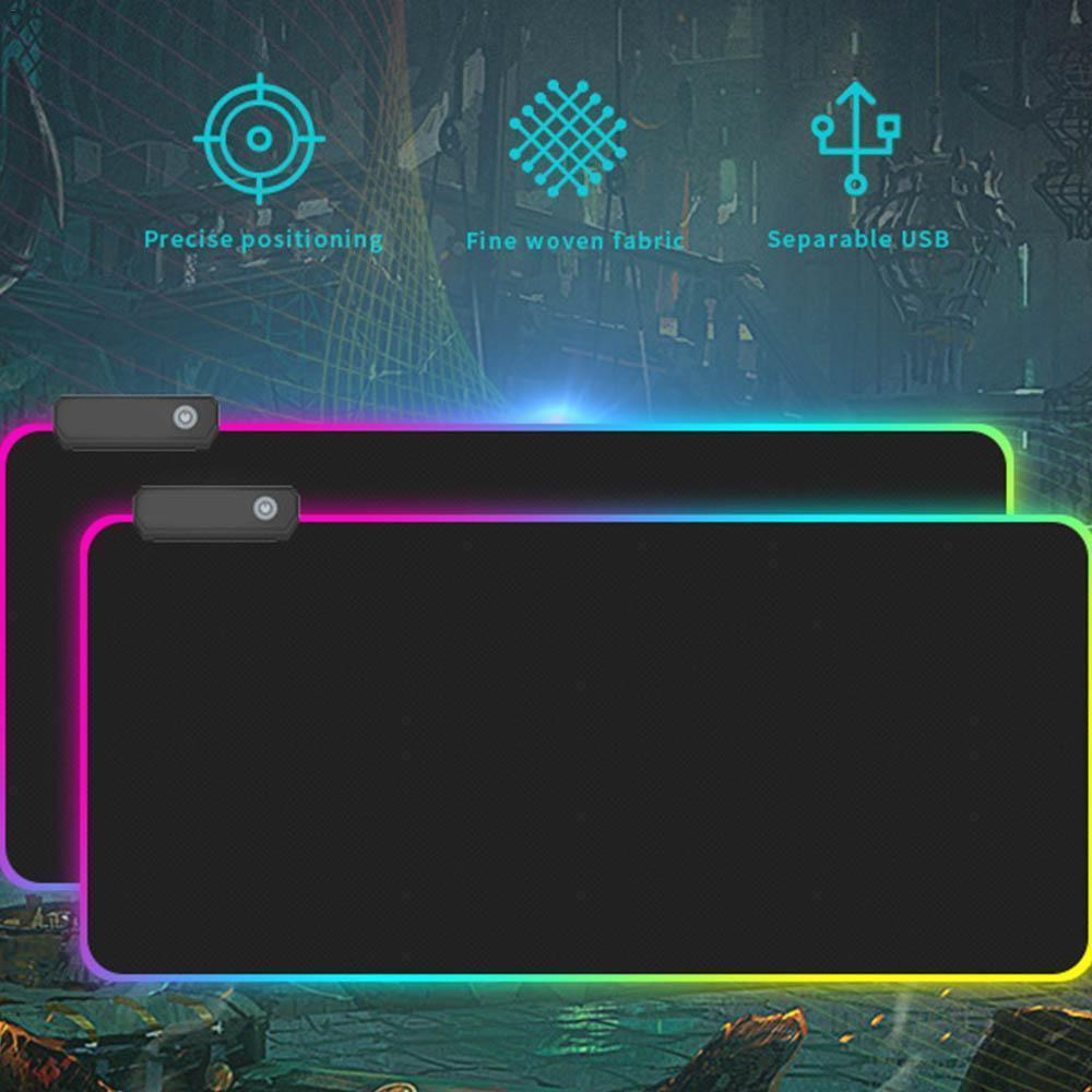 Large RGB Colorful LED Lighting Gaming Mouse Pad Mat Accessories for PC Laptops