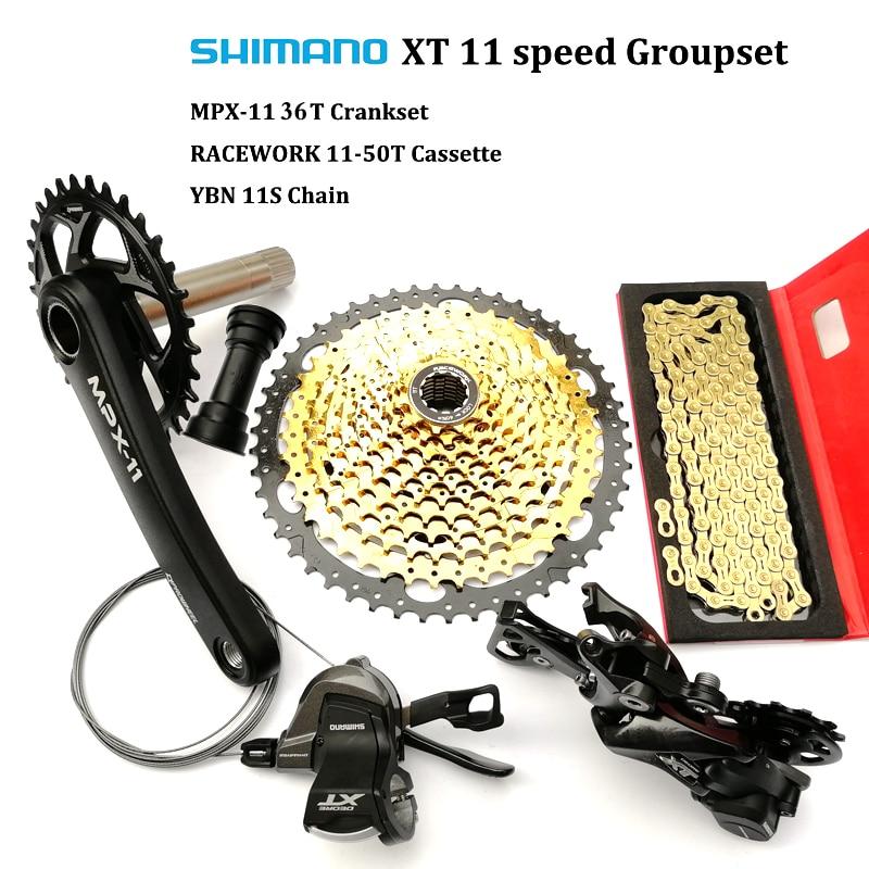 Shimano DEORE XT M8000 11 Vitesse Groupset M8000 Dérailleurs + 36 T PROWHEEL MP X-11 Pédalier + Racework 11- 50 T Cassette + RJGA 11 S Chaîne