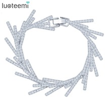 LUOTEEMI New Luxury Leaf Statement Cubic Zirconia Bracelets for Women White Gold Color Wedding Bridal Bracelets