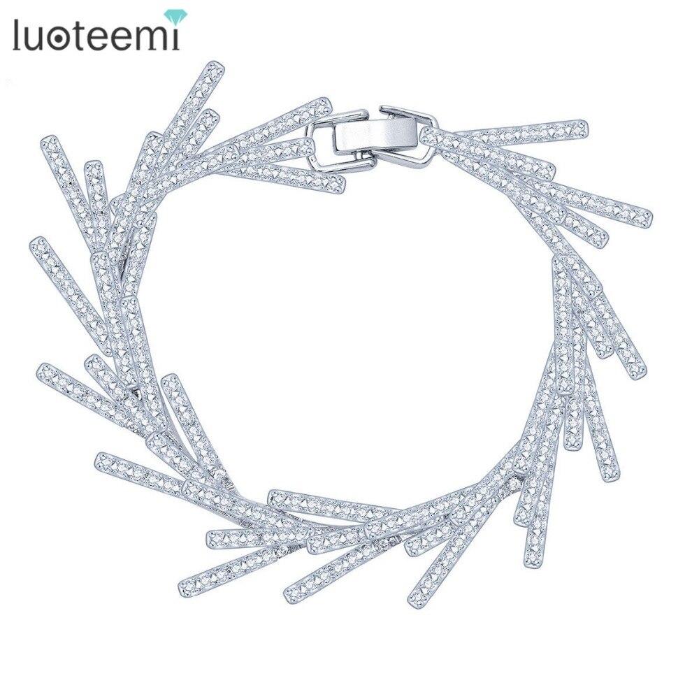 LUOTEEMI New Luxury Leaf Statement Cubic Zirconia font b Bracelets b font for font b Women