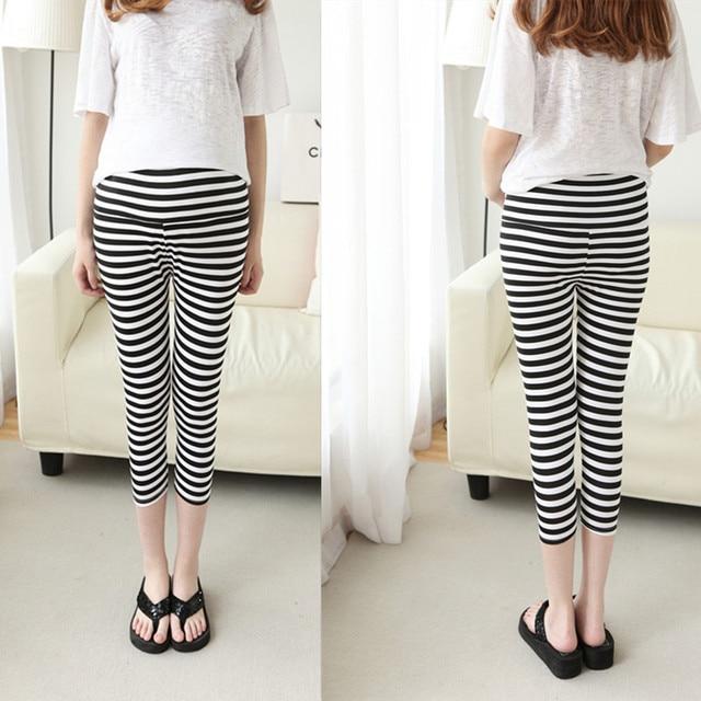 7e1a6720f4f72 2019 summer pregnant women skinny stripe legging maternity capris black and  white casual panelled capris elegant belly pants