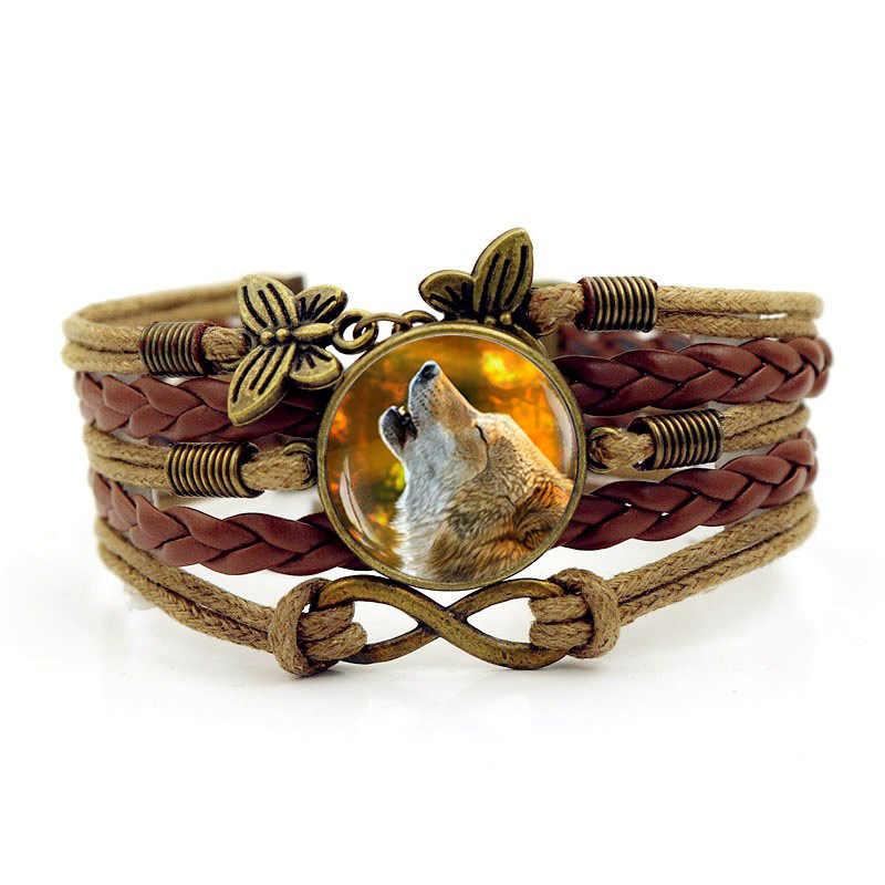 Браслеты мужской кожаный браслет новый 2018 просто мода Для мужчин волк воет Время камень браслет ручной вязки аксессуары и украшения