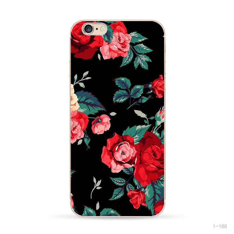 עבור fundas iphone 7 בתוספת מקרי 360 הסיליקון כיסוי עבור iphone 7 אביזרי פרחוני טלפון מקרה עבור iphone x 6 6 s 5 5S se מקרה
