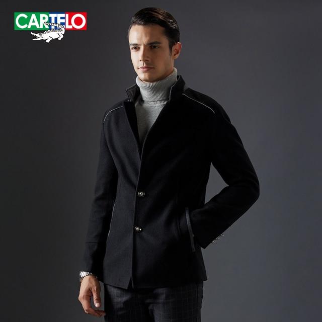 Cartelo marca 2016 nuevo collar del soporte de cachemira hombres chaqueta de lana mezclas abrigo de invierno casual de negocios de moda