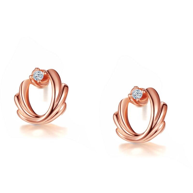 DOUBLE-R 0.03ct Diamant Stud Boucles D'oreilles Femelle 925 Sterling Argent À L'extérieur Rose Or Boucle D'oreille Romantique De Mariage Cadeau Diamant Bijoux - 3