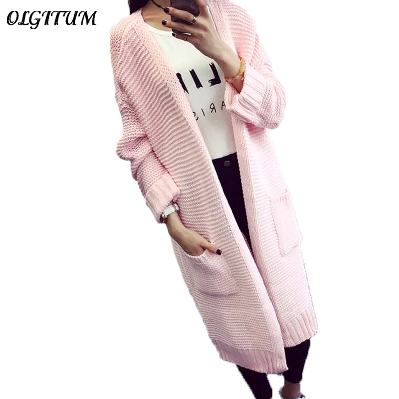 2019 Autumn New Fashion Women Sweater Long Section Cardigan Sweater Long Sleeve Loose Knitted Cardigan Long Sweaters Coat