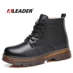 ALEADER High Women Ankle Boots Fashion Beauty Martin Boots Dr. Casual Lace Up Shoes For Women Big Size Girl Winter Booties Thick