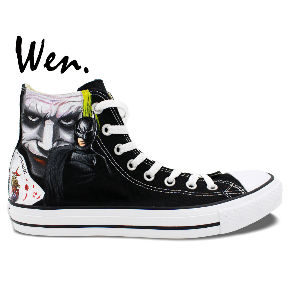e081db40d575 Wen Men Women s Hand Painted Shoes Design Custom Batman Joker High Top  Canvas Sneakers for Birthday Gifts