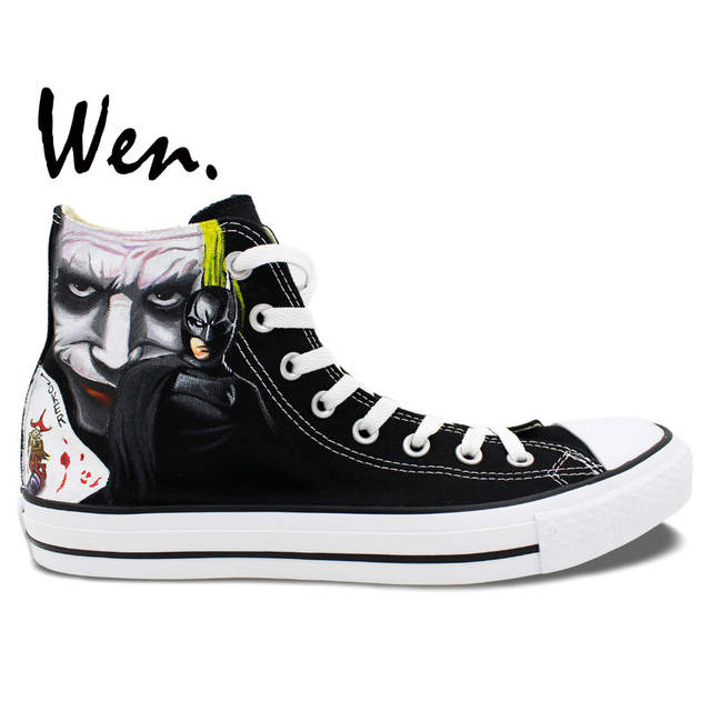 9293f1fb57026 Wen Men Women's Hand Painted Shoes Design Custom Batman Joker High Top  Canvas Sneakers for Birthday Gifts