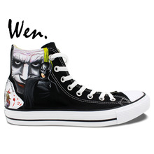 Wen Men Women's Hand Painted Shoes Design Custom Batman Joker  High Top Canvas Sneakers for Birthday Gifts