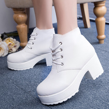 2019 new specials spring and autumn thick-soled platform cake short boots cross strap high-heeled Martin punk thick with w