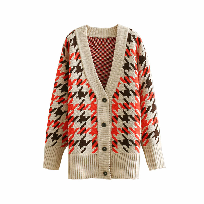 Vintage Chic Houndstooth Knitted Cardigans Long Sweater Women 2019 Fashion V Neck Button Loose Outerwear Casual Casaco Femme