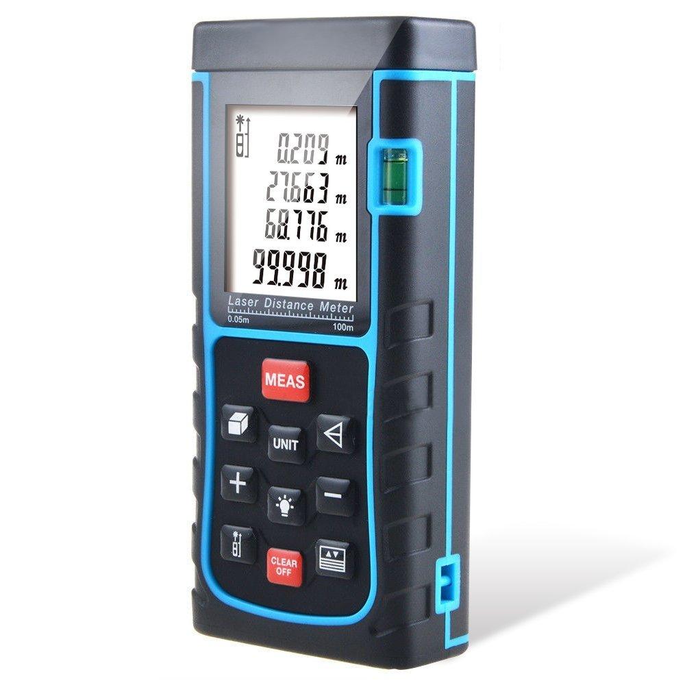 100m Portable Laser Distance Meter Rangefinder Finder Handheld Measure Instrument with Min/in/ft , Tape Measure