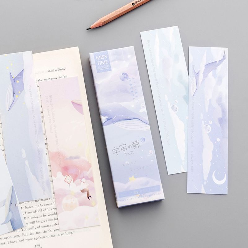 30pcs 15x4cm Whale Bookmarks Paper Page Notes Label Message Card Kawaii Colorful Book Marker School Supplies Stationery