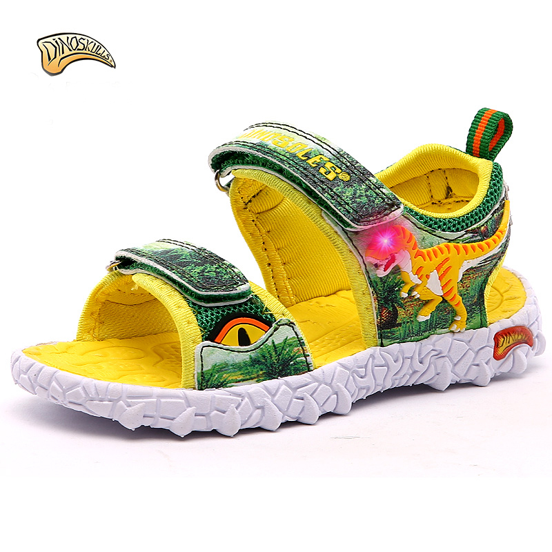 Dinoskulls Kids Boys Sandals 2018 LED Light Summer Shoes Leather Summer Kids Shoes Slippers Beach Shoes 3D Dinosaur 27-34