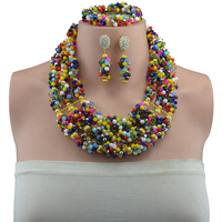2017 Newest Nigerian Wedding African Beads Jewelry Sets Crystal Statement Necklace Earrings Set For Women Parure
