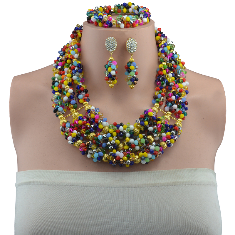 2017 Newest Nigerian Wedding African Beads Jewelry Sets Crystal Statement Necklace Earrings Set For Women parure bijoux femme2017 Newest Nigerian Wedding African Beads Jewelry Sets Crystal Statement Necklace Earrings Set For Women parure bijoux femme