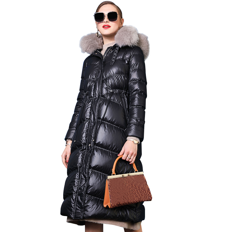 Large Real Fox Fur Collar 2019 Winter Jacket Women Female   Down     Coat   White Duck   Down   Parka Hooded Winter   Coat   Women Waterproof
