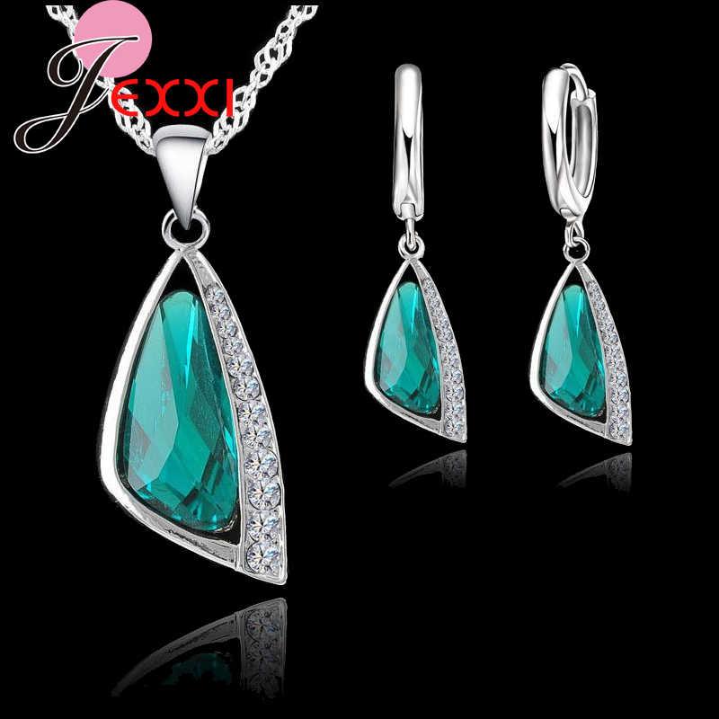 Eleganz Frauen Hochzeit Schmuck Sets 925 Sterling Silber Kristall Hoop Ohrringe Halskette Schmuck-Set Kristall Für Braut