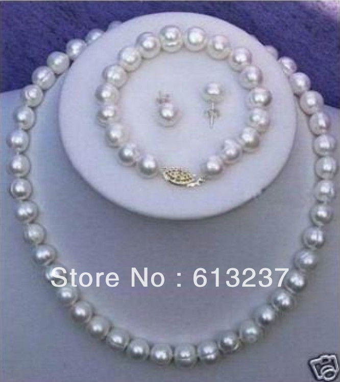 hot free Shipping new Fashion Style diy 7-8mm Real White Cultured Pearl Necklace Bracelet Earring Set MY4289