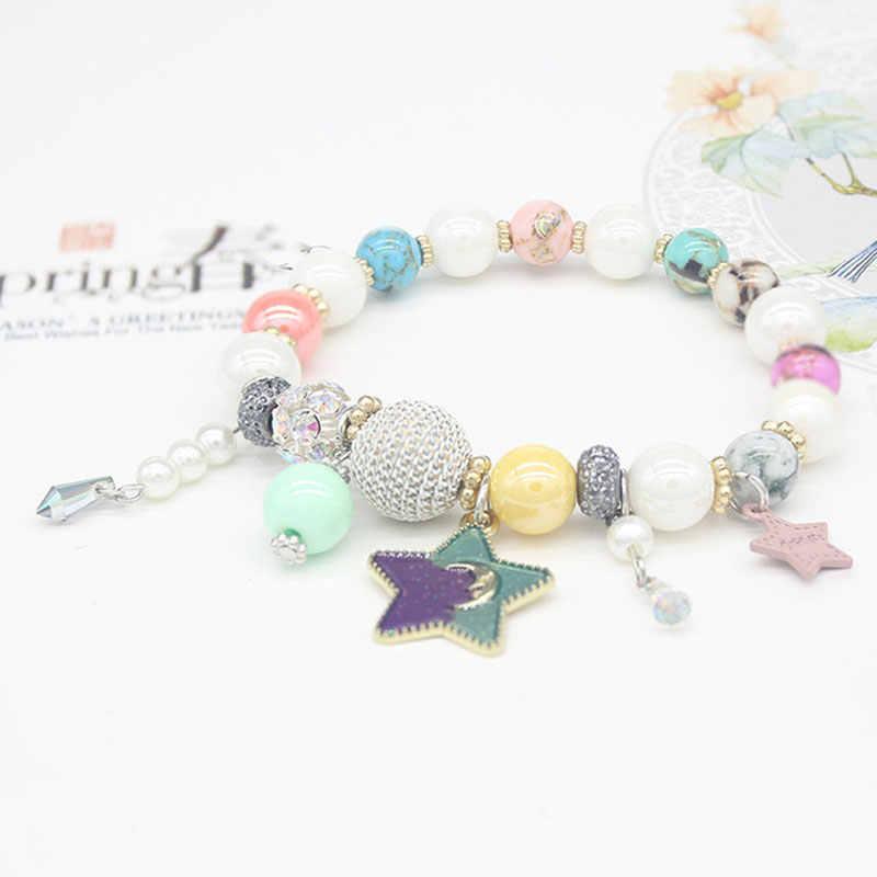 Ataullah 天然石腕輪明るい色宝石スターブレスレットビーズクリスタルビーズチャーム女性手作りジュエリー BW013NS