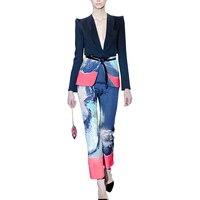 Plus Size 2 Piece Set Women Floral Print V Neck Short Work Business Blazer Jacket + Long Pencil Pant Suit Office Lady Outfit