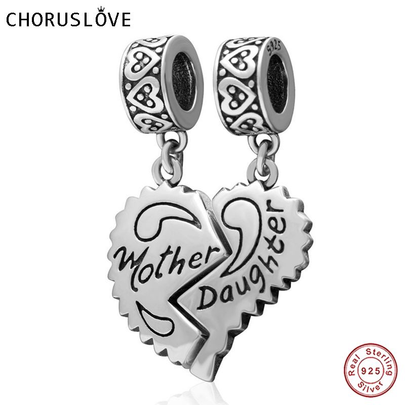 Original 925 Cterling Silver Heart Mother Daughter Dangle Charm Fits for Pandora Charms Bracelets free shipping