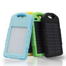 5000 mAh Solar Power Bank Cargador de Batería Externo Portable Teléfonos Inteligentes Powerbank Solar Dual USB 12 unids Iluminación LED para Camping