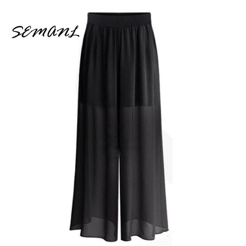 2018 Summer European Style Women Anklet -Length   Pants   Loose Chiffon Ladies Trousers Black Street   Wide     Leg     Pant   Plus Size L- 6XL
