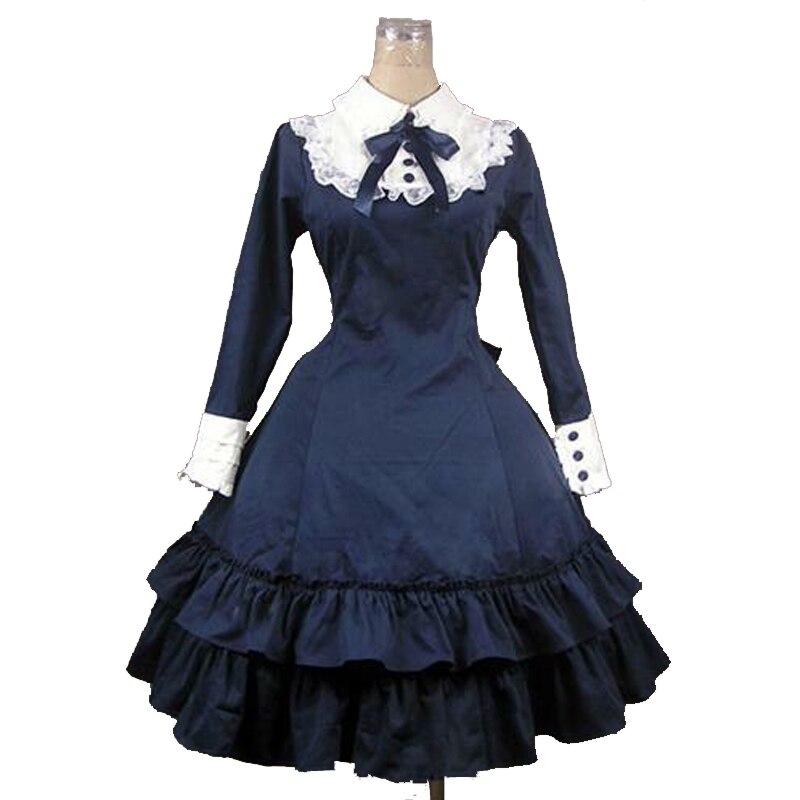 Personnalisé 2018 bleu marine coton à manches longues gothique Lolita robe noeud papillon doux femmes robe de princesse pour Halloween