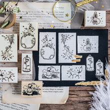 vintage cartoon little prince wood stamp DIY craft wooden rubber stamps for scrapbooking diary scrapbooking standard stamp 12 pcs set cute wooden box diary stamp set wood stamps for kids decor diary diy scrapbooking rubber stamp letters