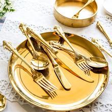 1pc Luxury Golden Dinner Set Vintage Western Gold Plated Cutlery Stainless Steel Knife Fork Set Silver Dinnerware Kitchen Flatwe