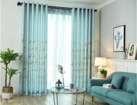 New curtain half shade fresh rural bedroom living room French Windows wear curtain cloth modern simple window screen