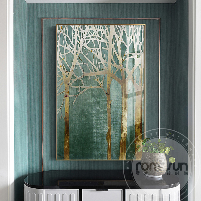 Abstract Green Forest Gold Lucky Tree Canvas Art Plant Poster HD Painting On The Wall For Living Room Fashion Cuadros Decoracion
