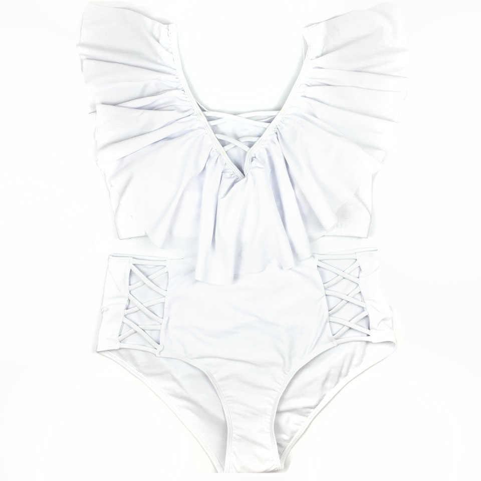 d9ca6525aa0d4 ... Plus Size Bikini Flounce Swimsuit Off Shoulder Bathing Suit Large Size Swimwear  Women Ruffle High Waist. RELATED PRODUCTS. White One Piece ...