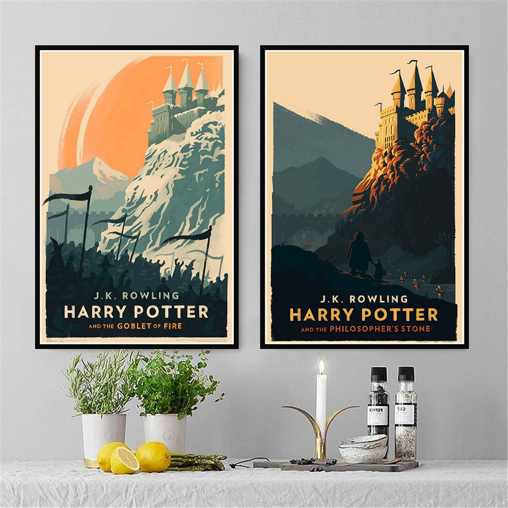 Canvas Painting Posters Castle Wall-Art-Picture Hogwarts Prints Potter Home-Decor Movie
