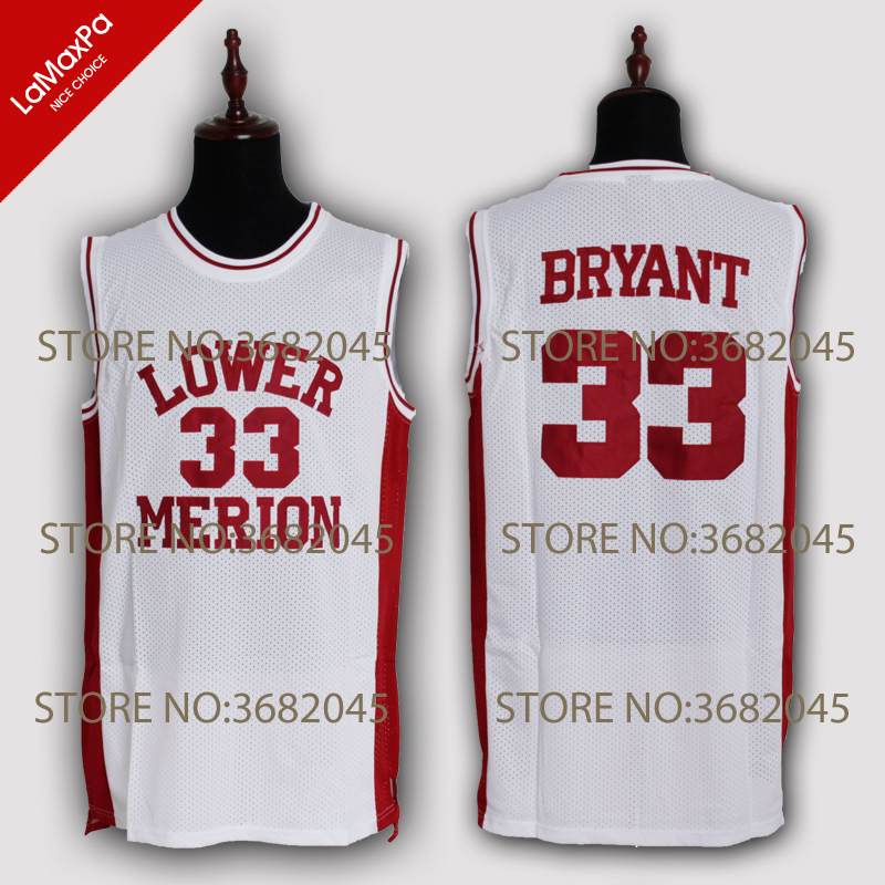 556fdc7b2 ... aliexpress buy throwback basketball jersey kobe bryant jerseys high  school lower merion no.33 red