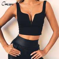 CWLSP Sexy V neck Solid Crop Tops Women Summer Camis 2019 cropped feminino Slim Tank Top Streetwear camisa feminina QZ2950