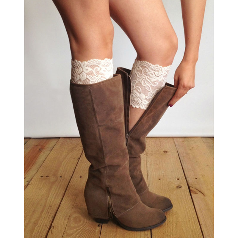 Fashion Saxy Stretch Lace Boot Cuffs Women Gilrs Legs Warmers Trim Flower Design Boot So ...