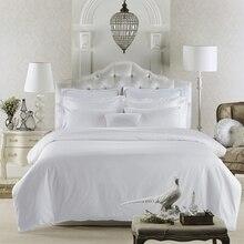 80 s 이집트 면화 새틴 순수한 흰색 고급 호텔 침구 세트 퀸 킹 사이즈 부드러운 실크 느낌 침대 시트 시트 이불 커버 세트
