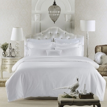 80S Egyptian cotton satin pure white luxury hotel Bedding Sets queen king size soft silk feeling Bed linen sheet set duvet cover