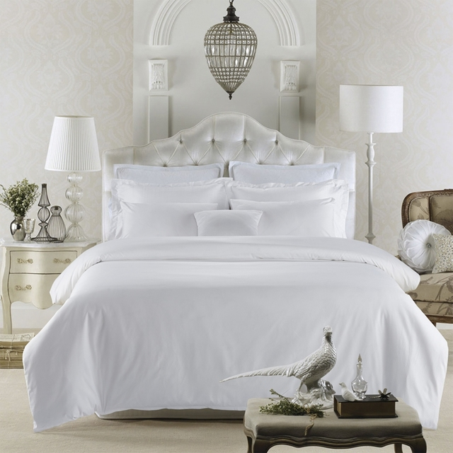 80S Egyptian Cotton Satin Pure White Luxury Hotel Bedding Sets Queen King  Size Soft Silk Feeling