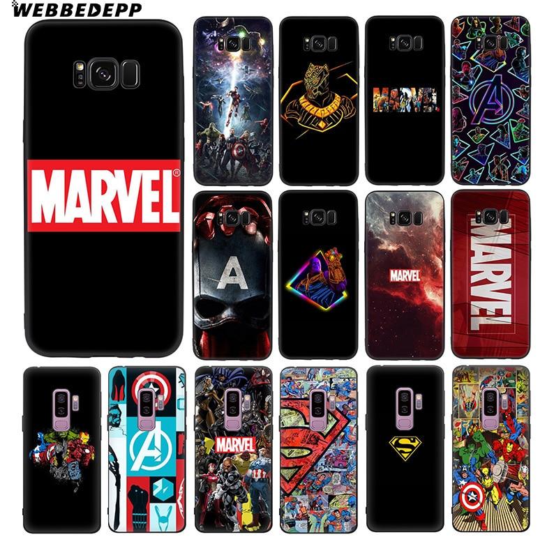 WEBBEDEPP Avengers Marvel Captain America Soft TPU Silicone Case for Samsung Galaxy S10 S10e S9 S8 Plus S7 S6 Edge & J6