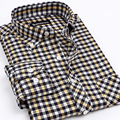 Mens Classic Style Fashion Clothing Men's Oxford Dress Shirts Men Non-Iron Brand Plaid Shirt Business Casual Shirt For Men